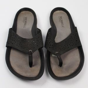 Merrell Barefoot black leather thong sandals
